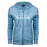 ENZA Ladies Light Blue Fleece Full Zip Hoodie-Fabulous Dancing Dolls Wordmark