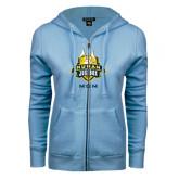ENZA Ladies Light Blue Fleece Full Zip Hoodie-The Human Jukebox - Mom