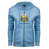ENZA Ladies Light Blue Fleece Full Zip Hoodie-The Human Jukebox - Alumni