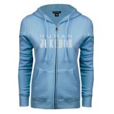 ENZA Ladies Light Blue Fleece Full Zip Hoodie-Human Jukebox Wordmark Glitter