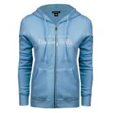 ENZA Ladies Light Blue Fleece Full Zip Hoodie-Fabulous Dancing Dolls Wordmark Glitter