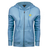 ENZA Ladies Light Blue Fleece Full Zip Hoodie-Jaguar Head