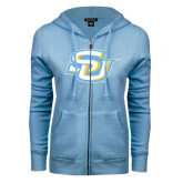 ENZA Ladies Light Blue Fleece Full Zip Hoodie-Interlocking SU