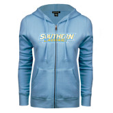 ENZA Ladies Light Blue Fleece Full Zip Hoodie-Southern Jaguars