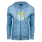 ENZA Ladies Light Blue Fleece Full Zip Hoodie-SU w/ Jaguar