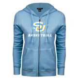 ENZA Ladies Light Blue Fleece Full Zip Hoodie-Basketball