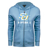 ENZA Ladies Light Blue Fleece Full Zip Hoodie-Softball
