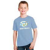 Youth Light Blue T Shirt-Softball