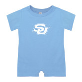 Light Blue Infant Romper-Interlocking SU