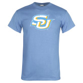Light Blue T Shirt-Interlocking SU Distressed