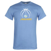 Light Blue T Shirt-Jaguars Basketball Contour Lines