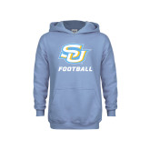 Youth Light Blue Fleece Hood-Football