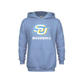 Youth Light Blue Fleece Hood-Baseball