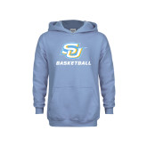 Youth Light Blue Fleece Hood-Basketball
