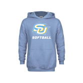 Youth Light Blue Fleece Hood-Softball