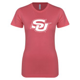 Next Level Ladies SoftStyle Junior Fitted Pink Tee-Interlocking SU