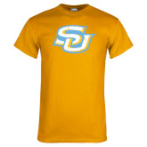 Gold T Shirt-Interlocking SU Distressed