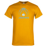 Gold T Shirt-Jaguars Basketball Contour Lines