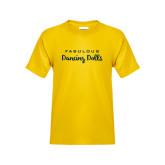 Youth Gold T Shirt-Fabulous Dancing Dolls Wordmark
