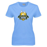 Ladies Sky Blue T Shirt-The Human Jukebox Official Mark Distressed
