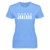 Ladies Sky Blue T Shirt-Human Jukebox Wordmark