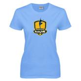 Ladies Sky Blue T-Shirt-Fabulous Dancing Dolls Official Mark
