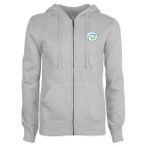 ENZA Ladies Grey Fleece Full Zip Hoodie-Interlocking SU