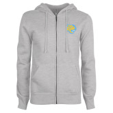 ENZA Ladies Grey Fleece Full Zip Hoodie-Jaguar Head
