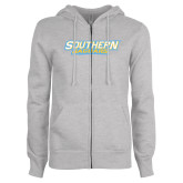 ENZA Ladies Grey Fleece Full Zip Hoodie-Southern Jaguars