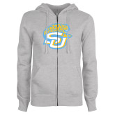 ENZA Ladies Grey Fleece Full Zip Hoodie-SU w/ Jaguar