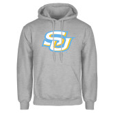 Grey Fleece Hoodie-Interlocking SU