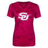 Ladies Pink Raspberry Camohex Performance Tee-Interlocking SU