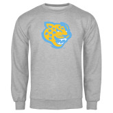 Grey Fleece Crew-Jaguar Head