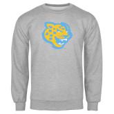 Grey Fleece Crew-Jaguar Head