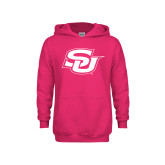 Youth Raspberry Fleece Hoodie-Interlocking SU
