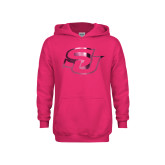 Youth Raspberry Fleece Hoodie-Interlocking SU Foil