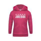 Youth Raspberry Fleece Hoodie-Human Jukebox Wordmark