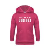 Youth Raspberry Fleece Hoodie-Human Jukebox Wordmark