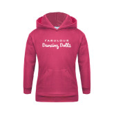 Youth Raspberry Fleece Hoodie-Fabulous Dancing Dolls Wordmark
