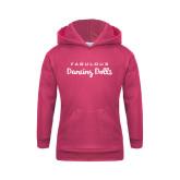 Youth Raspberry Fleece Hoodie-Fabulous Dancing Dolls Wordmark