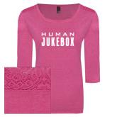 Ladies Dark Fuchsia Heather Tri Blend Lace 3/4 Sleeve Tee-Human Jukebox Wordmark