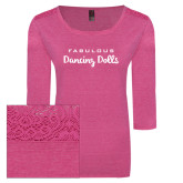 Ladies Dark Fuchsia Heather Tri Blend Lace 3/4 Sleeve Tee-Fabulous Dancing Dolls Wordmark