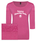 Ladies Dark Fuchsia Heather Tri Blend Lace 3/4 Sleeve Tee-Fabulous Dancing Dolls Script