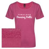 Ladies Dark Fuchsia Heather Tri-Blend Lace Tee-Fabulous Dancing Dolls Wordmark