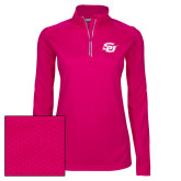 Ladies Pink Raspberry Sport Wick Textured 1/4 Zip Pullover-Interlocking SU