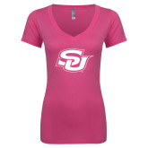 Next Level Ladies Junior Fit Ideal V Pink Tee-Interlocking SU