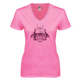 Next Level Ladies Junior Fit Ideal V Pink Tee-The Human Jukebox Official Mark Foil
