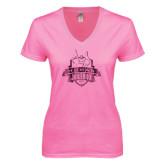 Next Level Ladies Junior Fit Deep V Pink Tee-The Human Jukebox Official Mark Foil