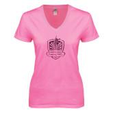 Next Level Ladies Junior Fit Deep V Pink Tee-Fabulous Dancing Dolls Official Mark Foil