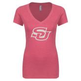 Next Level Ladies Vintage Pink Tri Blend V-Neck Tee-Interlocking SU White Soft Glitter